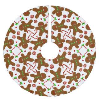 Natal do homem de pão-de-espécie personalizable saia para árvore de natal de poliéster