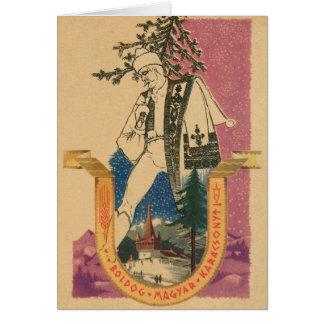 Natal do Hungarian do vintage Cartão Comemorativo