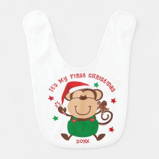 Natal do menino do macaco ø babadores infantis