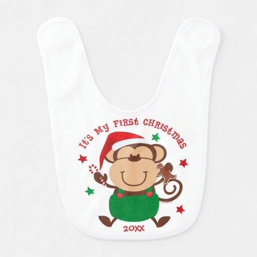 Natal do menino do macaco ø babador infantil