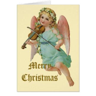 Natal do músico do anjo do vintage cartão comemorativo