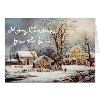 Natal do país no cartão do vintage da fazenda