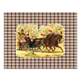 Natal do passeio do trenó do Victorian Convite 10.79 X 13.97cm