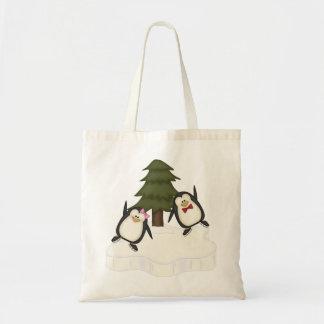 Natal do pinguim sacola tote budget
