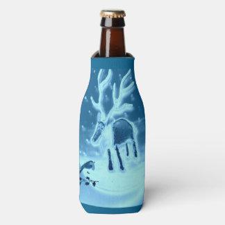 Natal do pisco de peito vermelho da rena na arte porta-garrafa