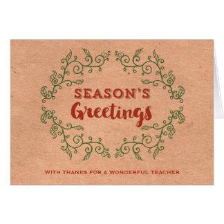 Natal do professor da grinalda do vintage do papel cartão comemorativo