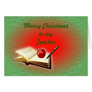 Natal do professor do Feliz Natal com livro, maçã Cartão Comemorativo