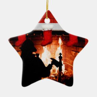 Natal do sapador-bombeiro ornamento de cerâmica