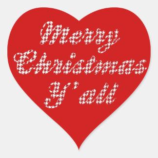 Natal do sul Houndstooth de cumprimento Adesivo De Coração