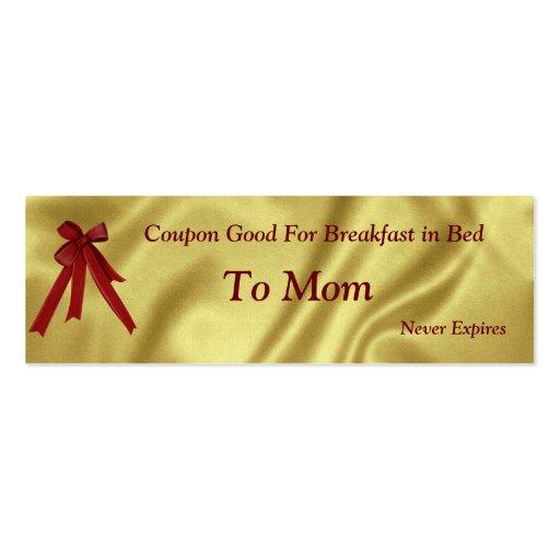 Natal do vale para o pequeno almoço da mamã na cam modelos cartão de visita