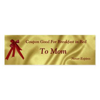 Natal do vale para o pequeno almoço da mamã na cartão de visita skinny