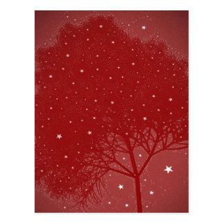Natal do vermelho da árvore do efeito cartão postal