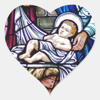 Natal do vitral adesivo coração