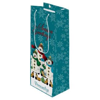 Natal dos amigos | dos bonecos de neve dos sacola para vinho