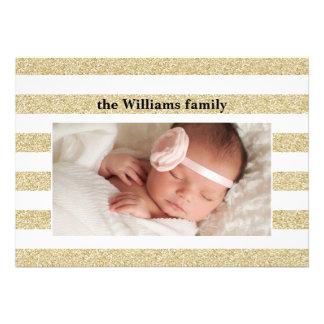 Natal dos cartões com fotos do brilho do ouro convites personalizado