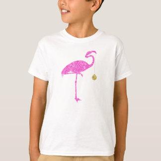 Natal dos flamingos do brilho do rosa do falso do t-shirt