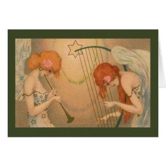 Natal dos músicos do anjo do Victorian da música Cartão Comemorativo