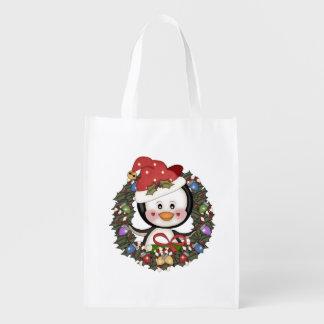 Natal dos pinguins sacolas ecológicas para supermercado