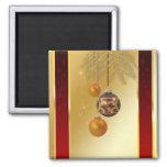 Natal dourado elegante - ímã quadrado imãs de refrigerador