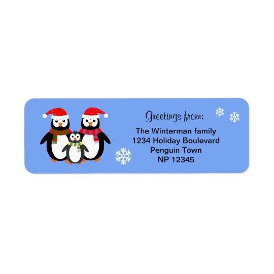 Natal editável do azul do texto da família do etiqueta endereço de retorno
