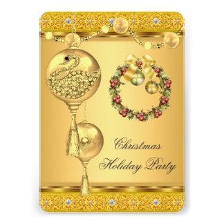 Natal elegante do amarelo do ouro da festa natalíc convites personalizado