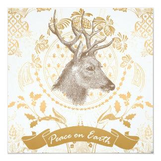 Natal elegante do ouro do vintage moderno convite quadrado 13.35 x 13.35cm