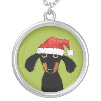 Natal engraçado do Dachshund Colar Com Pendente Redondo