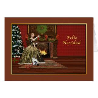 Natal, Feliz Navidad, espanhol, antiquado Cartoes