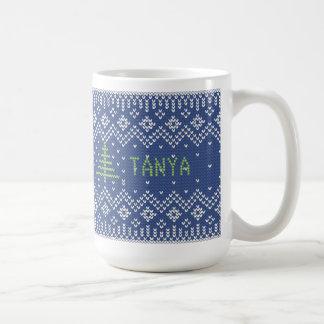 Natal festivo do teste padrão da camisola do caneca de café