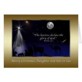 Natal, filha e genro, religiosos cartão comemorativo