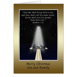 Natal, filho e família, religiosos cartão comemorativo