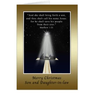 Natal, filho e nora, religiosos cartão comemorativo