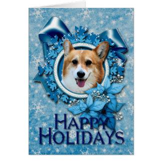 Natal - floco de neve azul - Corgi - Owen Cartão Comemorativo