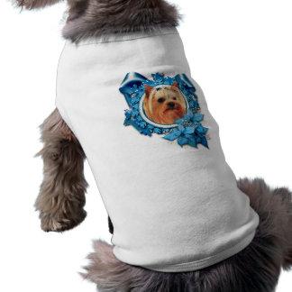 Natal - floco de neve azul - yorkshire terrier camiseta para caes