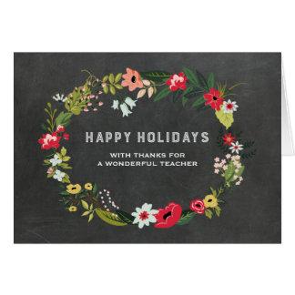 Natal floral do professor do quadro do vintage da cartão comemorativo