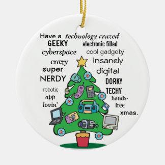 Natal geeky digital da tecnologia engraçada ornamentos para arvore de natal