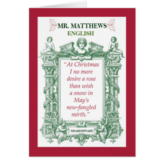 Natal histórico de Shakespeare do professor de Cartão Comemorativo
