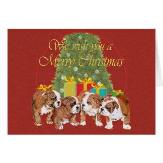 Natal inglês dos filhotes de cachorro do buldogue cartão comemorativo