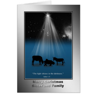 Natal, irmã e família, religiosos, cartão