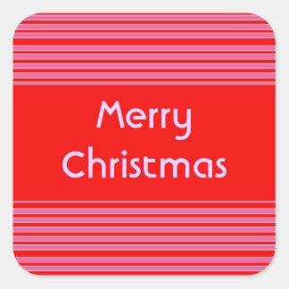 Natal listrado rosa vermelha adesivo quadrado