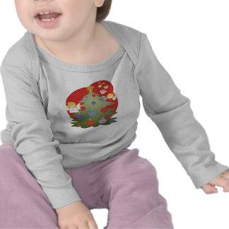 NATAL longo infantil da luva Tshirt