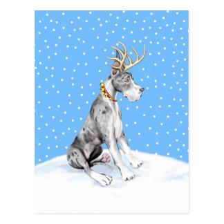 Natal Merle da rena de great dane Cartão Postal