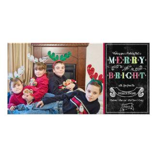 Natal moderno da foto dos feriados brilhantes da f cartão com foto personalizado