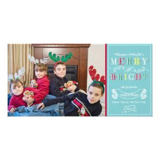 Natal moderno da foto dos feriados brilhantes da f cartão com fotos