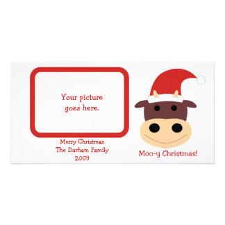 Natal MOO-y! Presentes de época natalícia e cartõe Cartão Com Foto