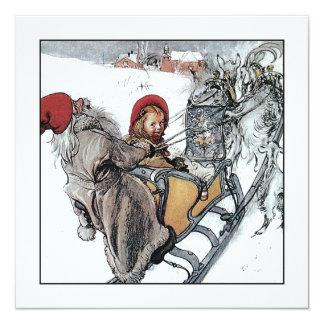 Natal Nisse e Kersti no passeio do trenó Convite Quadrado 13.35 X 13.35cm
