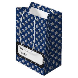 Natal no azul & na prata sacola para presentes média