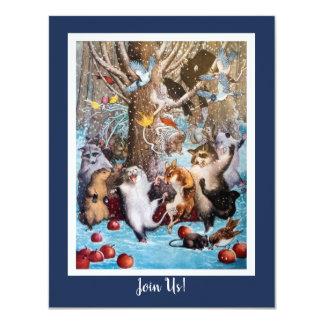 Natal no convite engraçado dos animais das