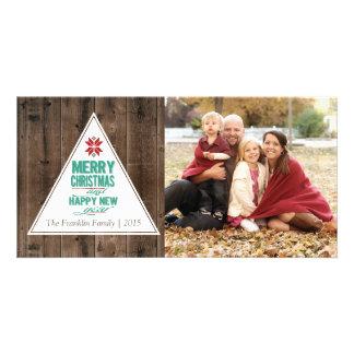 Natal & o ano novo rústicos cartão com foto