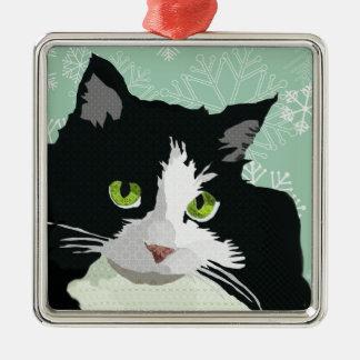 Natal Orna do floco de neve do verde do gato de Ornamento Quadrado Cor Prata